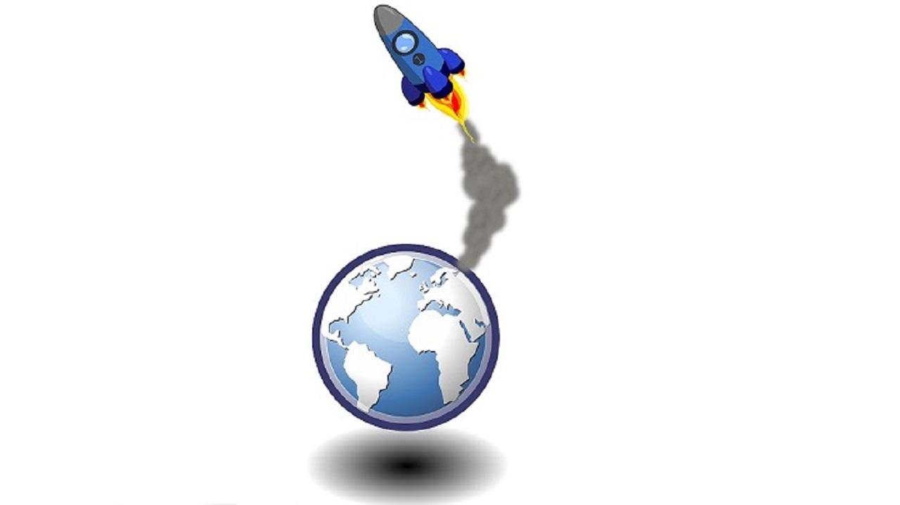 Image de décollage de fusée avec vue de la Terre